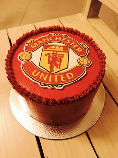 Manchester United cake by Get Baked Soccer Birthday Cakes, Soccer Party, 12th Birthday, Baking Desserts, No Bake Desserts, Manchester United Birthday Cake, 21st Birthday Gifts For Boyfriend, Cake Layers, Cakes For Men