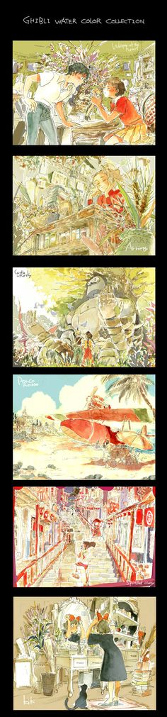 Ghibli water color by ~fukamatsu on deviantART