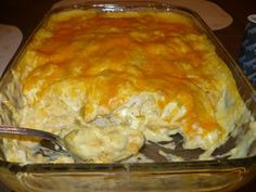 Sour Cream Chicken Enchilada Casserole. The same ingredients used to make chicken enchiladas, but easier than rolling up a bunch of tortillas.