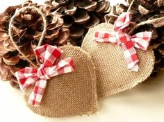 These are my little ragged hearts; made with natural burlap and trimmed with a hand tied red gingham bow and jute twine hanger. They have my trademark Burlap Christmas Ornaments, Primitive Christmas, Rustic Christmas, Christmas Holidays, Christmas Decorations, Christmas Swags, Primitive Crafts, Christmas Christmas, Christmas Ideas
