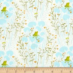 Heather Ross Far Far Away Frogs Blue from @fabricdotcom  Designed by Heather Ross and re-printed by Windham Fabrics, this cotton print is perfect for quilting, apparel and home decor accents.  Colors include white, blue, green, mustard and soft black.