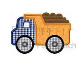 Dump truck applique machine embroidery design