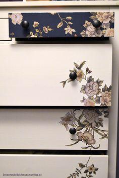Cómo personalizar tu cómoda de Ikea con papel http://www.inventandobaldosasamarillas.es/2015/01/como-decorar-tu-comoda-de-ikea-con-papel.html Ideas que nos encantan!!
