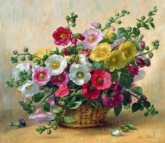 Roses Painting - Hollyhocks In A Basket by Albert Williams Acrylic Flowers, Watercolor Flowers, Watercolor Paintings, Art Floral, Floral Prints, Rose Images, Flower Images, Jig Saw, Hollyhocks Flowers