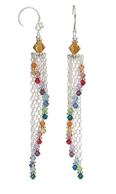 Earrings with Swarovski® Crystal Beads and Sterling Silver Chain - Fire Mountain Gems and Beads