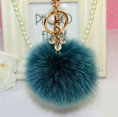 Fluffy Ball Keychain With Crystals
