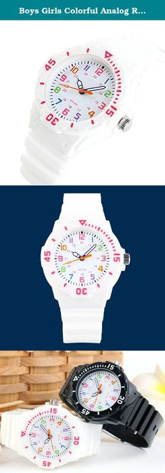 Boys Girls Colorful Analog Resin Waterproof Strap Sport Watches White. Fashionable,Amazing looking watch, a great gift for friends. Import movement 30ATM waterproof ,please don't press any button under the warter Easy to set the time feature.