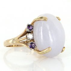 Vintage Lavender Jade Amethyst Diamond Cocktail Ring 14 Karat Yellow Gold Estate 6