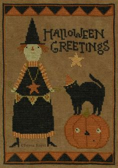 Halloween Greetings is the title of this cross stitch pattern from Teresa Kogut that is stitched with DMC threads and Weeks Dye Works (Schneckley).