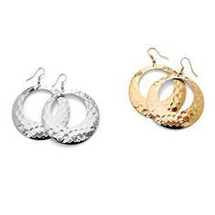 PalmBeach Jewelry Goldtone Metal Silvertone Metal 2-Pairs Hammered-Style Hoop Drop Earrings Set Toscana. $19.99. Save 33%!