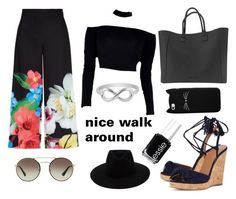 """""""flowers and black"""" by styles-fashions on Polyvore featuring Ted Baker, Aquazzura, rag & bone, Prada, Jewel Exclusive and Essie"""