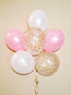 Pink and White Dot Balloons 1st Birthday Pink 1st birthday