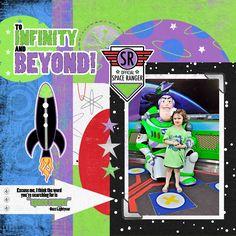 Buzz Lightyear Disney World scrapbook page layout.