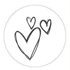 Hartjes Stickers Wit/Zwart Set 10