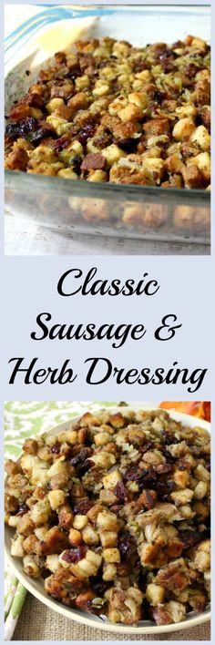 Classic Sausage and Herb Dressing - A classic moist dressing with all natural pork sausage, sauteed vegetables and fresh herbs with a few added surprises like fennel and apple juice. The perfect side dish to your holiday table.