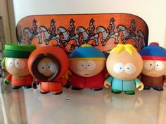 """South Park Kidrobot Set 5 Stan, Kyle, Carman, Kenny & Butters New W/Boxes, Foil, Cards & Accessories Sealed. by Kidrobot. $49.99. Picture is of Cards that come with figures. 3"""" Kidrobot Blind Box Figures. South Park Kidrobot Set of 5. Kidrobot Vinyl Blind Box 3"""" Figures"""