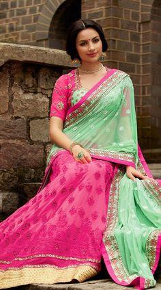 Pink Georgette Sea Green Pallu Designer Lehenga Style Saree 3H10551 - IndiaBazaarOnline Shopping Store