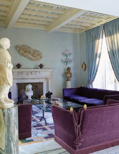 "coolchicstylepensiero: "" Decor Inspiration: In the living room, a collection of marble sculptures ranging from the third to the century. Cool Rooms, Great Rooms, Knole Sofa, Interior Decorating, Interior Design, Decorating Ideas, Formal Living Rooms, Dining Room Furniture, Beautiful Interiors"