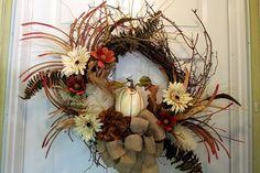 Fall Wreath Pumpkin Burlap Bow Large Red by QuailHollowCreations
