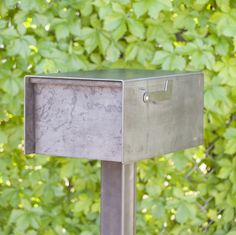 The Barton Mailbox - Custom Steel Modern Metal Letter Box Contemporary Personalized Metal Post Box Address Numbers Curbside Mailbox Flag, Mailbox Post, Metal Mailbox, Mailbox Landscaping, Landscaping Tips, Outdoor Landscaping, Custom Mailboxes, Modern Mailbox, Types Of Steel