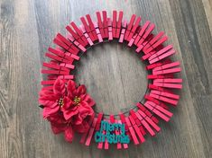 10 Poinsettia Clothespin Wreath. Each wooden clothespin is fully painted with Outdoor Acrylic Paint. Flower selection/size may vary. Will be made to order after purchase. Fall Wreaths, Christmas Wreaths, Christmas Crafts, Christmas Poinsettia, Christmas Things, Easter Wreaths, Christmas Ornament, Wreath Crafts, Diy Wreath