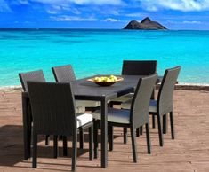 Outdoor Patio Wicker Resin 7-Piece Dining Table