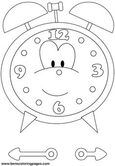 Time Clock coloring picture. And we have brads to make the clock spin. good for younger kids