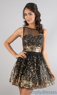 Short gold and black sparkly formal prom homecoming 2014 junior ...