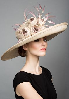 da3d7d5a38a Rachael Trevor Morgan Millinery - - Natural fine straw sidesweep with toned  silk roses and claws feathers