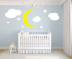 """Moon stars and clouds kids room vinyl wall decal graphic 20"""" Tall Home Decor. $49.99, via Etsy."""