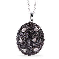 Corrente e Pingente de Prata com Diamantes Negros - - Medalhão Persa