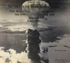 グローブス将軍が使用した写真資料の表紙。長崎に原爆投下した後のきのこ雲の写真が使われている