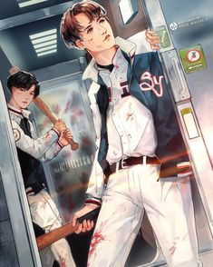 """4,825 Likes, 98 Comments - auriee ☆ (@cheons_a) on Instagram: """"Busan Boys  [Train to Busan AU]  #kookmin #btsfanart #부산행  I know I'm a year late but it doesnt…"""""""