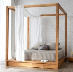 Indoor/Outdoor Canopy Bed by Mash Studios (simple enough for diy and you could add draws at the base )