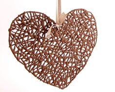 OOAK  Delicate brown ceramic crochet heart by hamutalbenjoceramics, $52.00