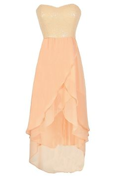 Peaches and Gleam Sequin and Chiffon High Low Dress - Lily Boutique