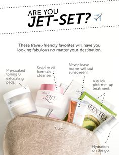 All the travel essentials you need:   1. RE:P Organic Cotton Treatment Toning Pad - Threaded texture for exfoliation - Hydrates - Restores pH balance   2. Banila Co Clean It Zero Classic - Dissolves stubborn makeup, oil-based debris    3. Neogen Day-Light Protection Sun Screen - Broadspectrum SPF 50 PA +++ - Rose, honey, raspberry extracts for nourishing hydration  4. Skinfood Everyday Green Tea Mask Sheet - Infused with green tea extract  - Combination of hydration, minerals, antioxidants