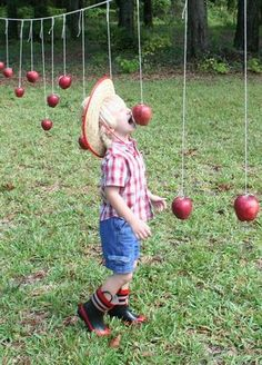 Alternative game of bobbing for apples - fun and easy for kids to play