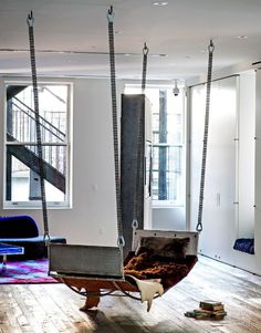 hard to tell if this is an indoor hammock or an indoor swing. Thinking hammock, but not about to split hairs! Interior Architecture, Interior Design, Design Interiors, Rustic Interiors, Swing Indoor, Indoor Hammock, Hammocks, Hammock Bed, Dream Homes