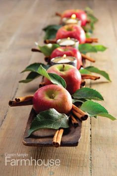 42 Cozy Diy Apple Decorations Ideas That Suitable For Autumn - I admit it. This is my favorite time of year. While friends and family are unabashed lovers of the summer, with its long sunny days, barbecues, and va. Thanksgiving Table Settings, Thanksgiving Decorations, Christmas Decorations, Holiday Decor, Christmas Garlands, Snowman Decorations, Christmas Table Settings, Christmas Centerpieces, Deco Fruit