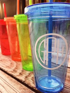 Personalized Circle Monogram on Double Wall Tumbler #monogram #tumbler #togocup #cute #colorful #rainbow #customtumbler #customcup #custommonogram