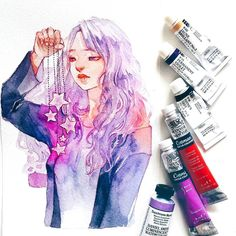 Byul, my lovely girl (which receives all my love for lilac colors and which happened to be the one with who I use my duochrome watercolors the most )