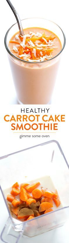 Carrot Cake Smoothie -- made with fresh carrots, and spiced to taste like the ca. - Carrot Cake Smoothie — made with fresh carrots, and spiced to taste like the cake we all love! Yummy Smoothies, Smoothie Drinks, Yummy Drinks, Healthy Drinks, Smoothies With Carrots, Simple Smoothies, Homemade Smoothies, Stay Healthy, Carrot Cake Smoothie