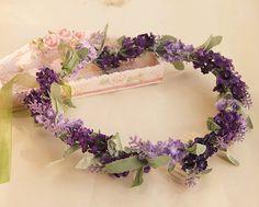 purple flower crown lavender flower hair wreath floral crown