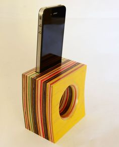 COOL.  Wireless Iphone Speaker/Amplifier made from Reclaimed Skateboards