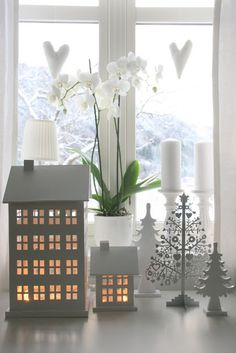 Winter Decorating - tea light houses and the orchid