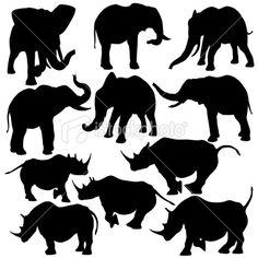 Silhouettes of elephants and rhinos. Rhinos, Free Vector Art, Elephants, Safari, Moose Art, Silhouette, Illustration, Animals, Collection