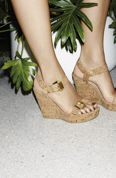 How fun are these cork wedge sandals?