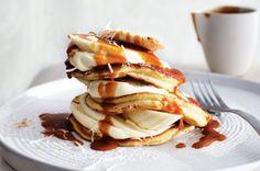Coconut pancakes with banana and creme fraiche http://www.taste.com.au//recipes/23585/coconut+pancakes+with+banana+and+creme+fraiche