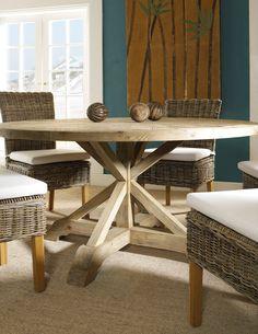 "Padma's Plantation SAL13-60 Natural Salvaged Wood 60"" Round Dining Table"